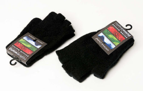 Image of Black Unisex Fingerless Gloves Possum Merino Wool - NX103