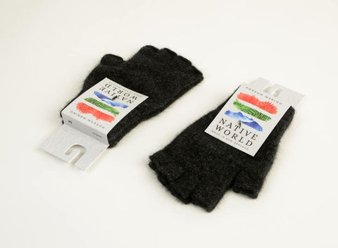 Image of Charcoal grey unisex fingerless gloves in merino possum wool