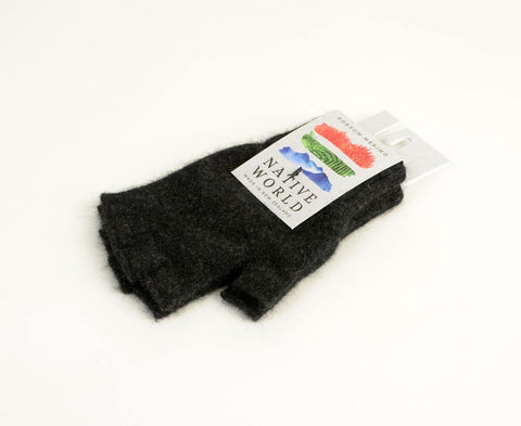 Charcoal grey unisex fingerless gloves in merino possum wool