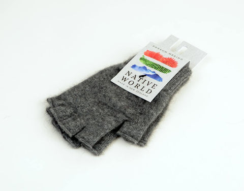 Image of Dark silver grey unisex fingerless gloves in merino possum wool