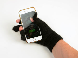 Possum Merino Gloves - Black wool touch tip gloves