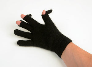 Black Unisex Touch Tip Gloves Possum Merino Wool - NX104