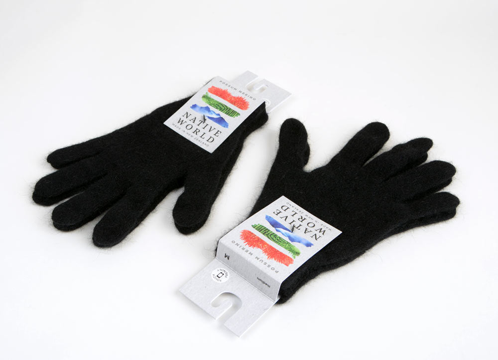 Black wool touch tip gloves