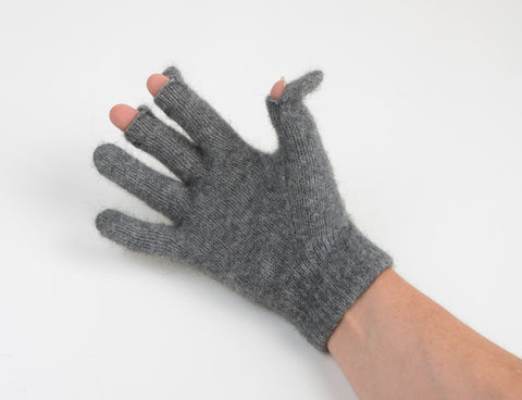 Image of Dark silver grey wool glove touch tip