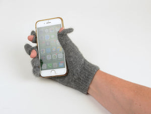 Dark silver grey wool glove touch tip
