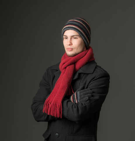 Image of Charcoal (Black-Red-Beige) Striped Beanie Hat Unisex - NX201