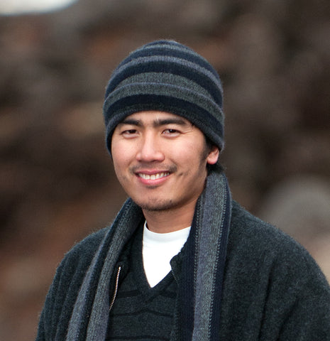 Image of Men's striped wool beanie hat in possum merino