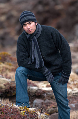 Image of Men's wool beanie in possum merino