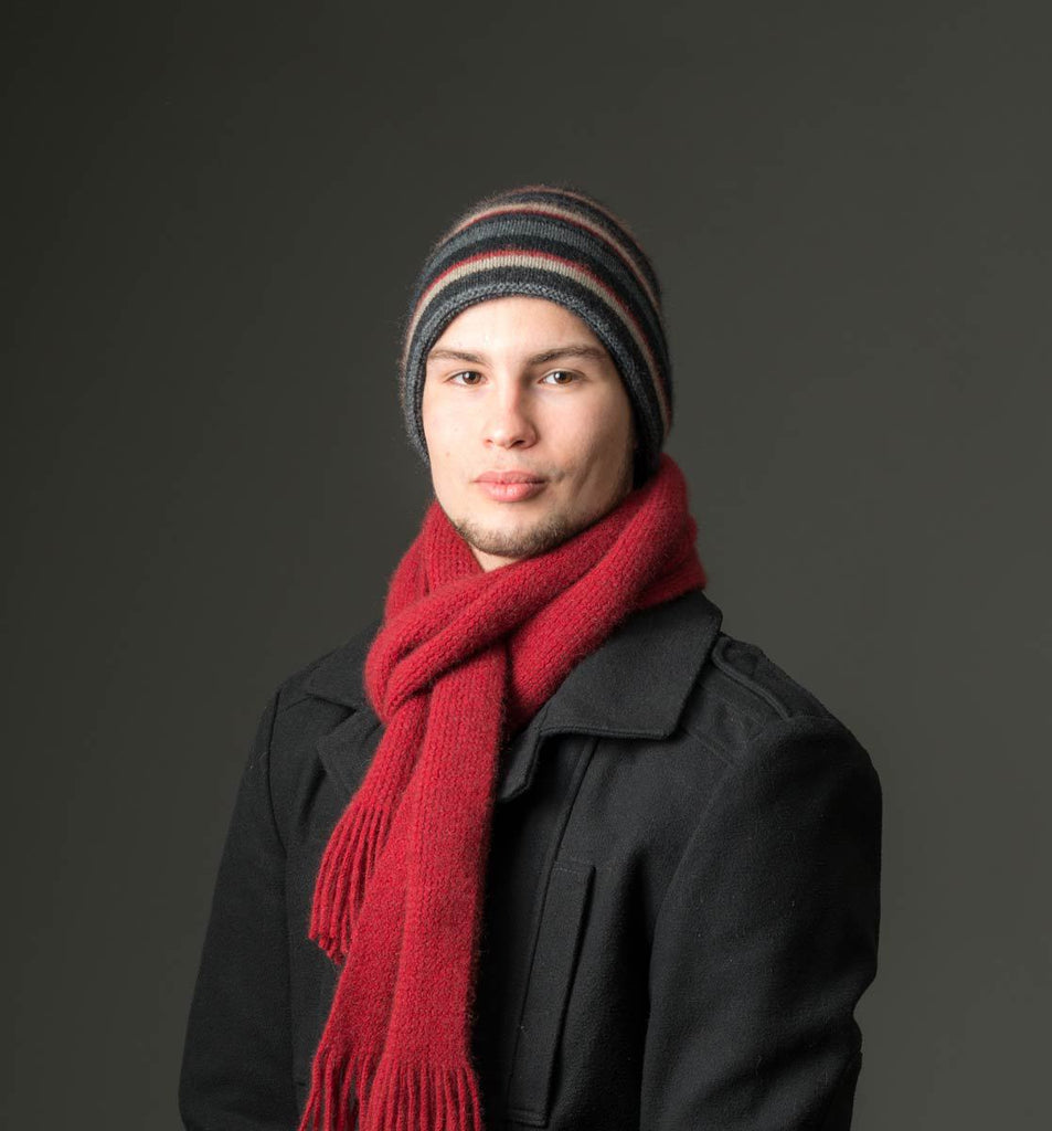 Charcoal (Black-Red-Beige) Striped Beanie Hat Unisex - NX201