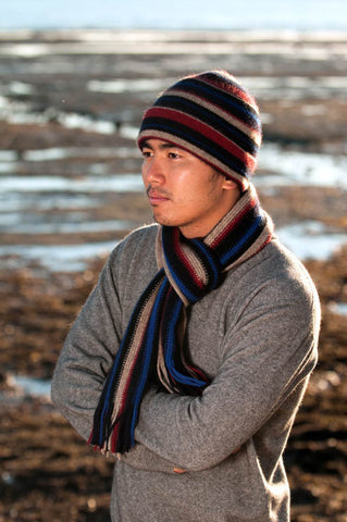 Image of Flax beige striped beanie possum merino wool hat nx201