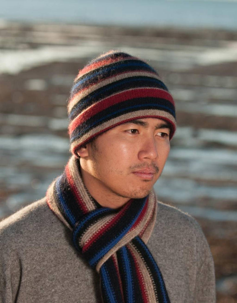 Flax beige striped beanie possum merino wool hat nx201