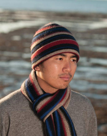 Image of Striped beanie possum merino wool hat