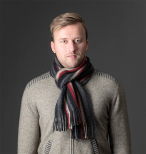 Charcoal (Black-Red-Beige) Multi Stripe Scarf - NX205