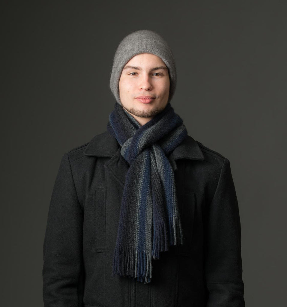 Native World Graphite Navy Black Blue Multi Stripe Scarf - NX205