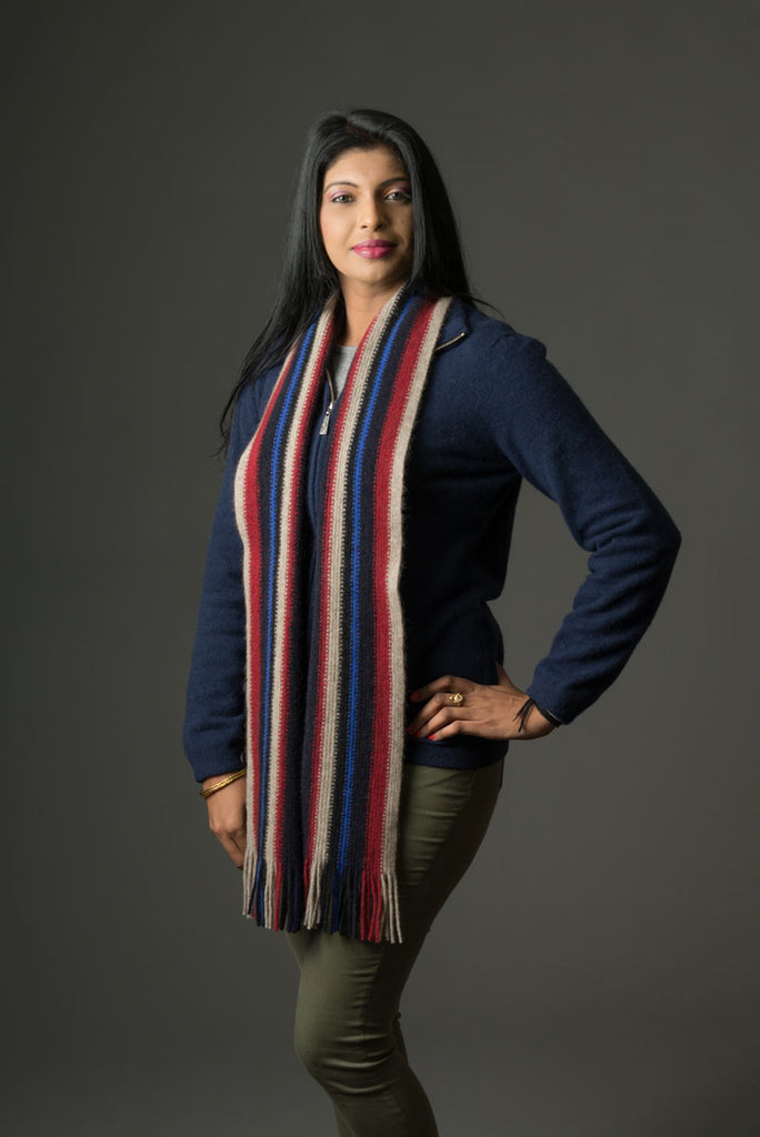 Fun Colourful Possum Merino Wool Scarf in Beige, Blue and Red NZ made