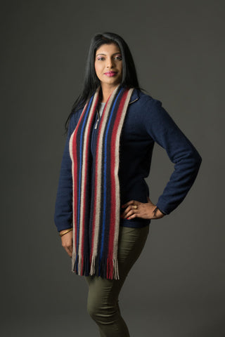 Native World Flax Black Red Blue Multi Stripe Wool Scarf - NX205