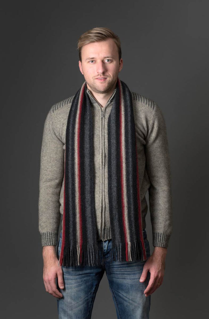 Native World Charcoal (Black-Red-Beige) Multi Stripe Scarf - NX205