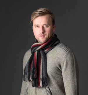 Native World Charcoal Black Red Beige Multi Stripe Scarf - NX205