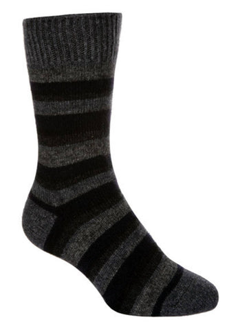 Possum Merino Native World Graphite Blue Grey Striped Socks NX206