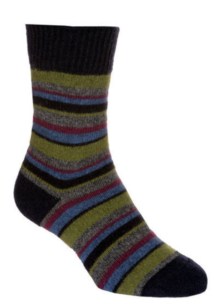 Possum Merino Native World Midnight Lime Wine Striped Socks NX206