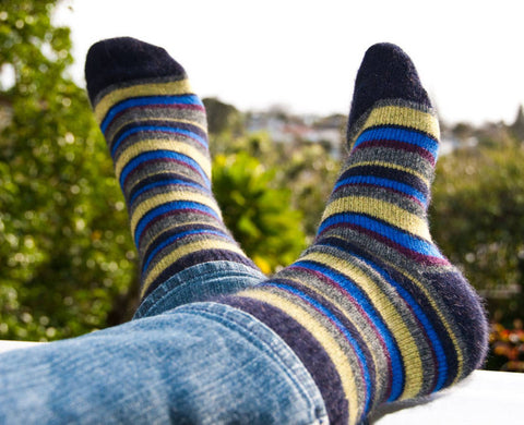Image of Possum Merino Native World Midnight Lime Wine Striped Socks NX206
