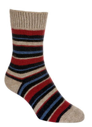 Possum Merino Native World Flax Red Blue Striped Socks NX206