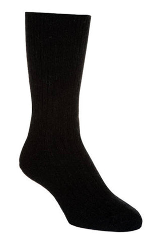 Black Unisex Plain Ribbed Socks - NX218