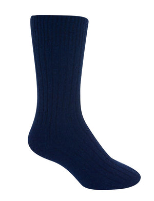Native World Dark Blue Unisex Plain Ribbed Wool Socks - NX218