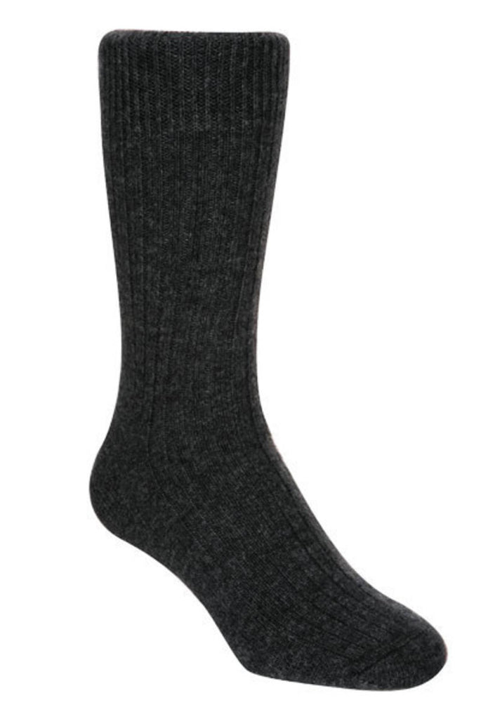 Charcoal Unisex Plain Ribbed Socks - NX218