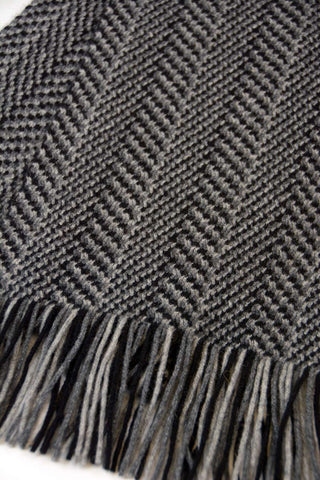 Herringbone wool scarf detail