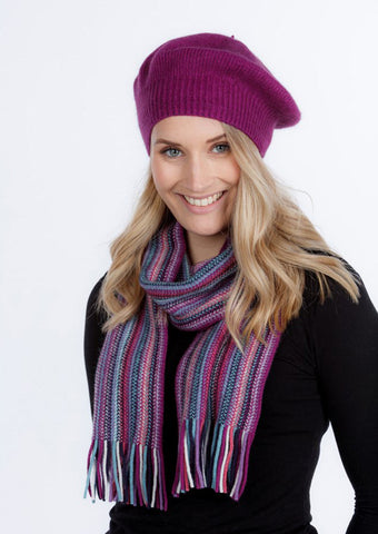 Possum merino wool scarf in striped anemone purple