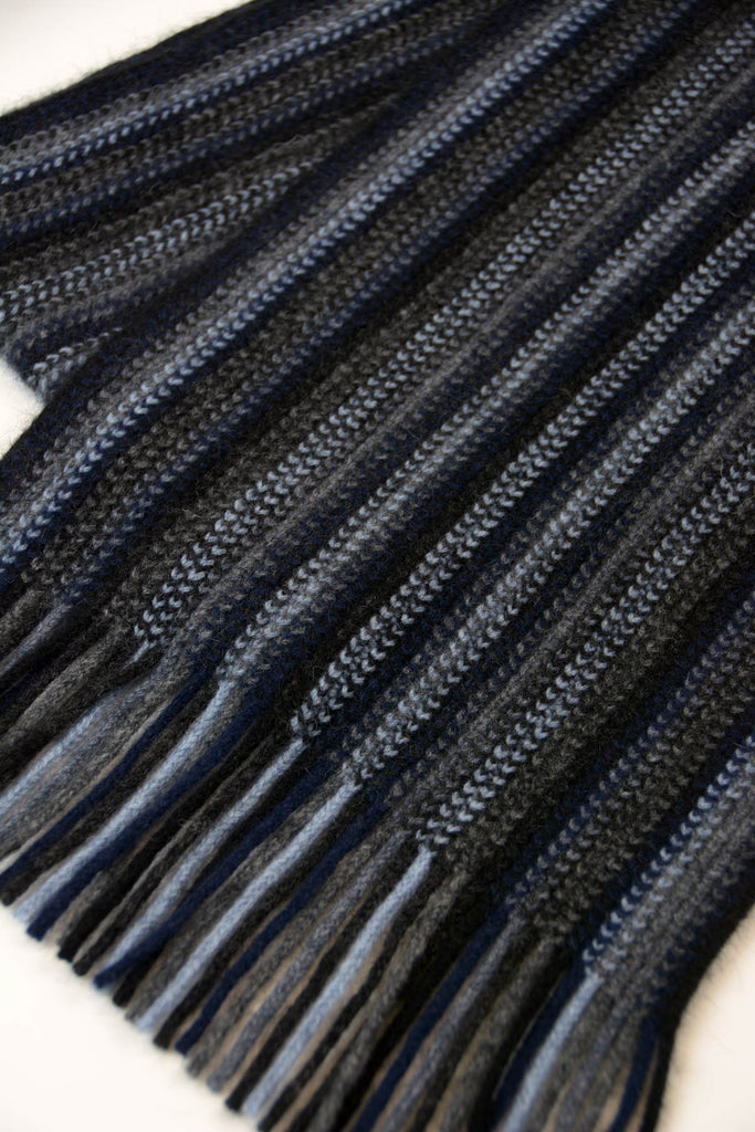 Possum & Merino Wool Black Blue Grey Multi Stripe Scarf - NX378