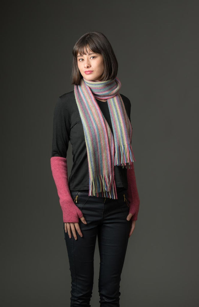 Native World Raspberry Pink Multi Stripe Scarf - NX378