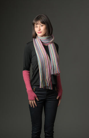 Raspberry (Blue-Green) Multi Stripe Scarf - NX378