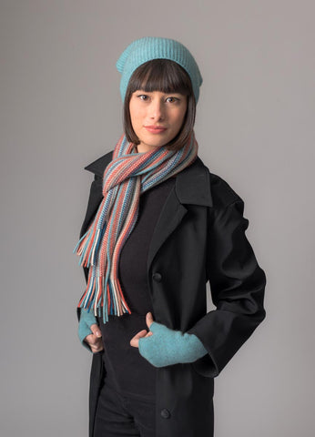 Image of Topaz (Teal-Coral) Multi Stripe Scarf - NX378