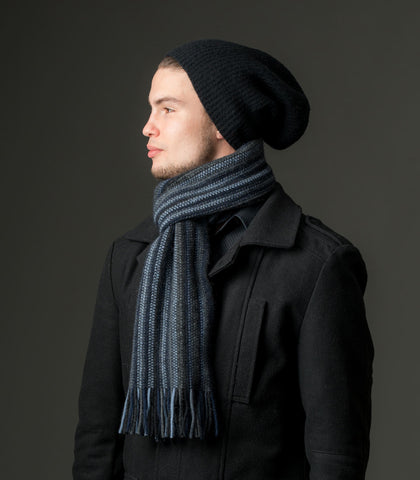 Image of Possum & Merino Wool Black Blue Grey Multi Stripe Scarf - NX378