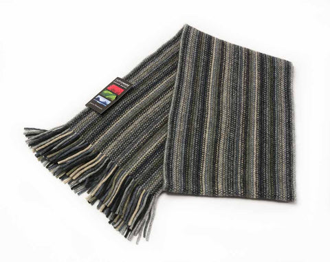 Image of Silver (Beige-Grey) Multi Stripe Scarf - NX378