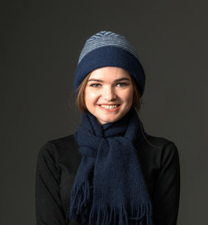Dark blue stripe possum merino wool beanie hat