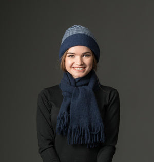 Native World navy blue possum and merino wool scarf
