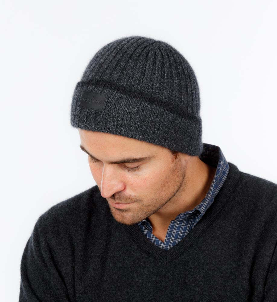 Men's merino wool beanie grey marl NX402