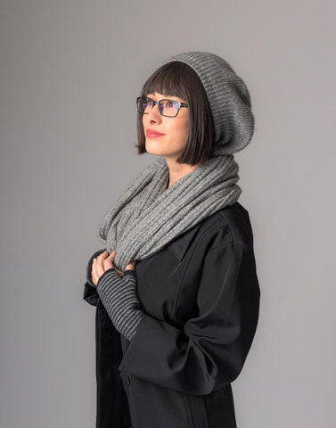 Image of Possum merino wool loop scarf silver grey