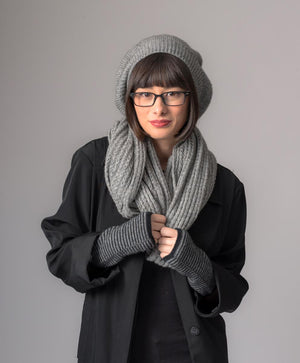 Possum merino wool loop scarf silver grey