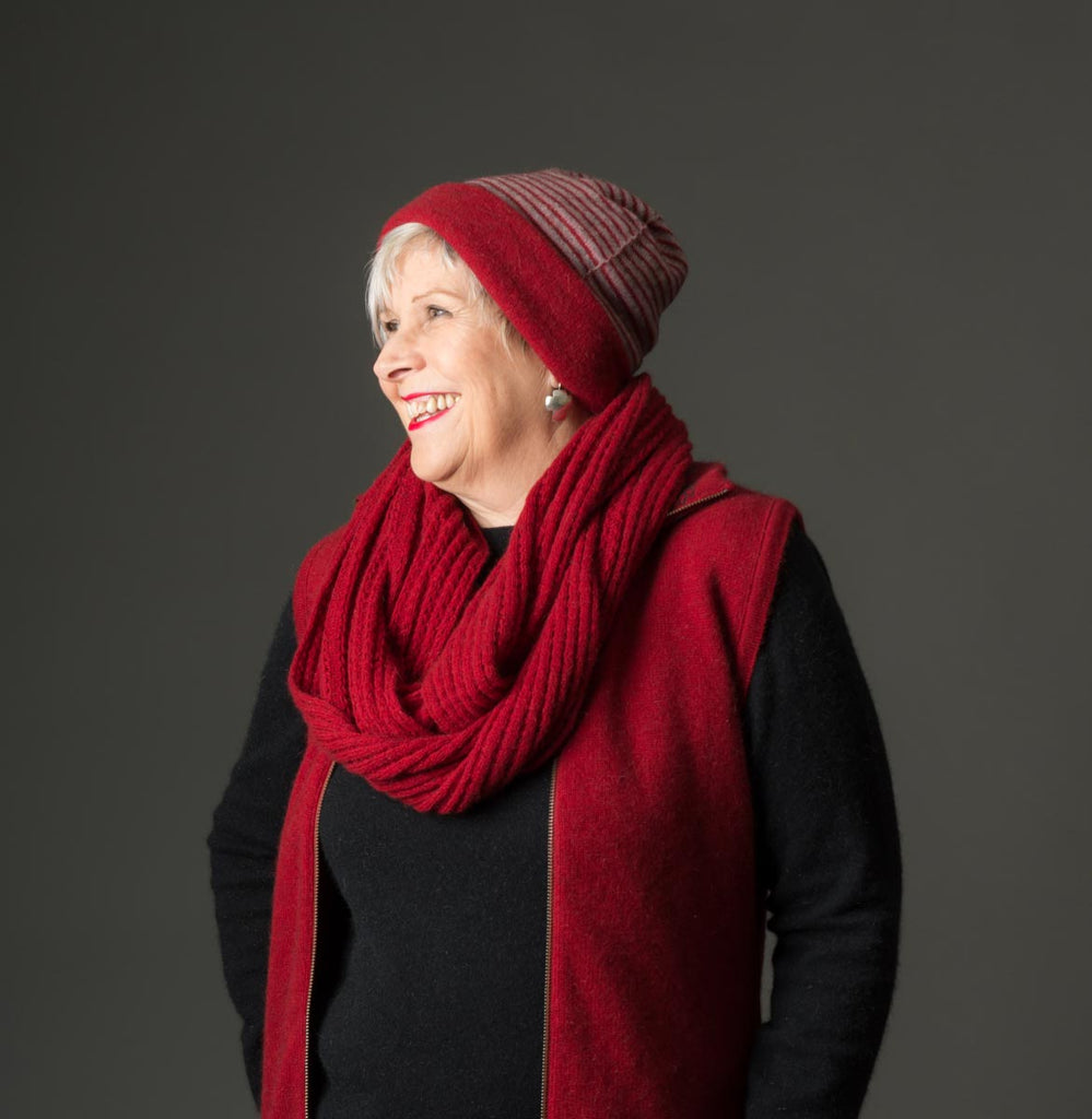Berry Red Endless Lace Loop Scarf - NX479