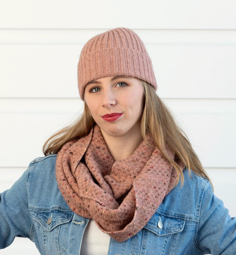 Pretty pearl pink dot scarf in possum and merino
