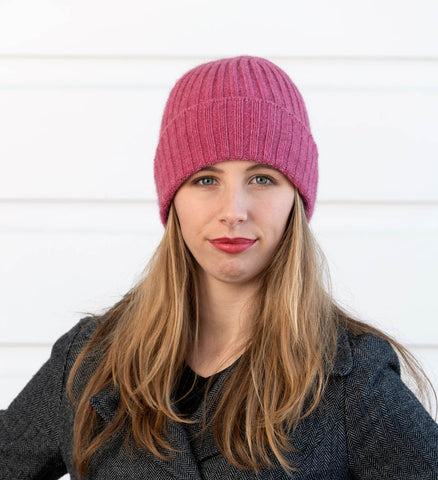Raspberry Pink Seamless Rib Ladies Beanie - NX480