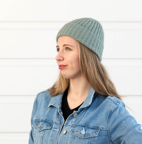 Seafoam green ribbed wool beanie hat