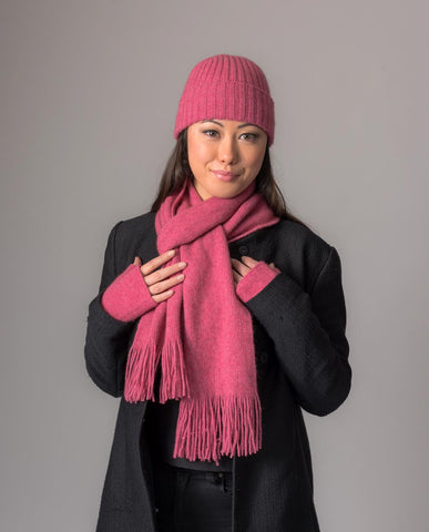 Image of Raspberry Pink Seamless Rib Ladies Beanie - NX480
