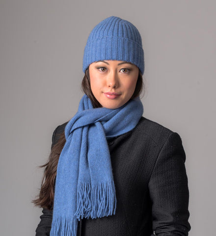 Image of Bluebell Plain Possum Merino Scarf - NX399