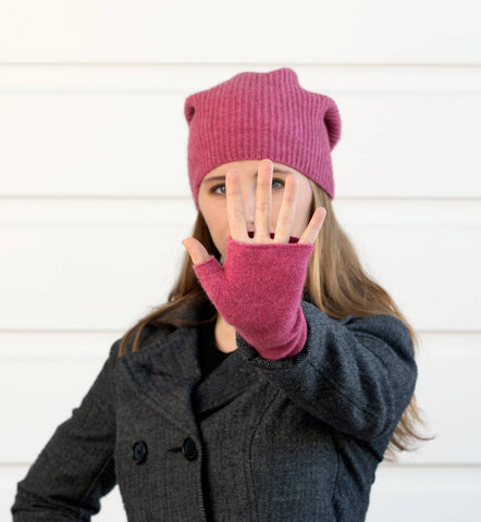 Raspberry pink possum wool hand warmers