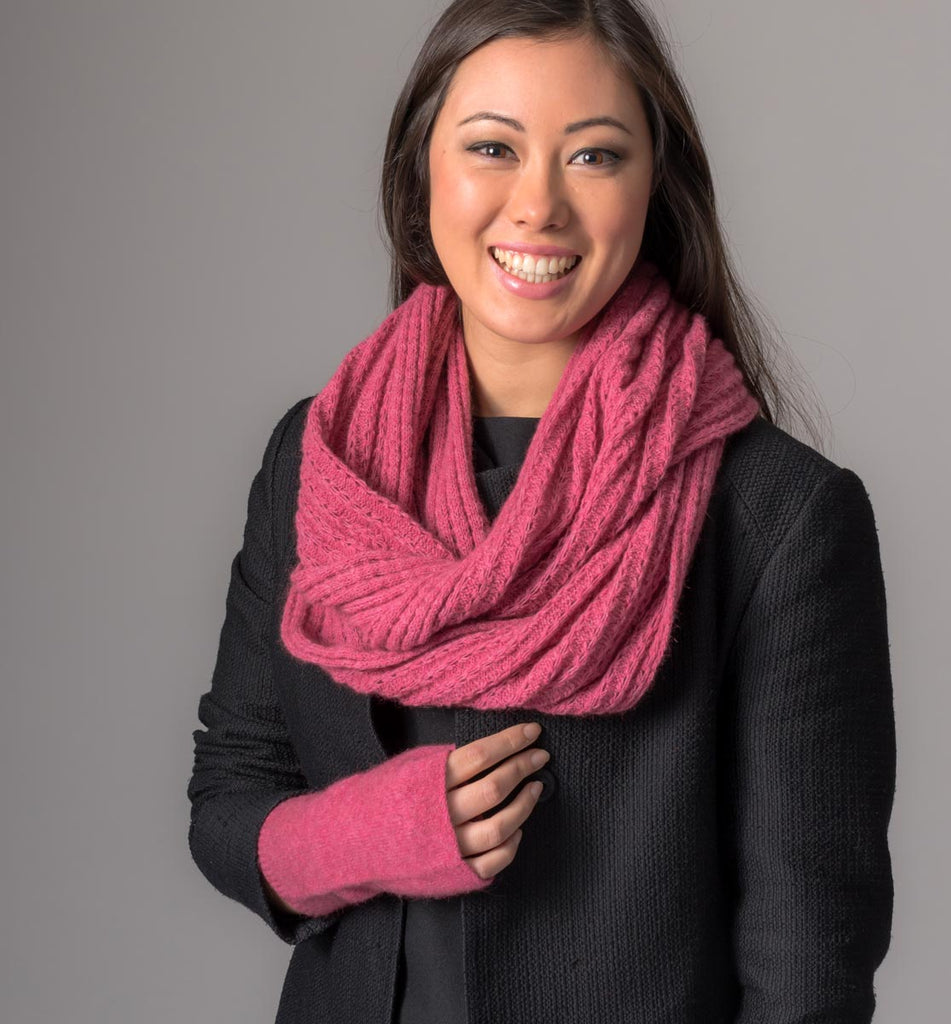 Raspberry Pink Endless Lace Loop Scarf - NX479